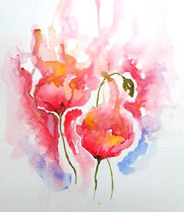 Original Watercolor: Poppies