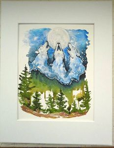 Original Watercolor Painting: Wolves