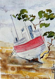Original Watercolor: Shipwreck