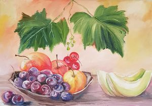 Still life. Grapes and melon.