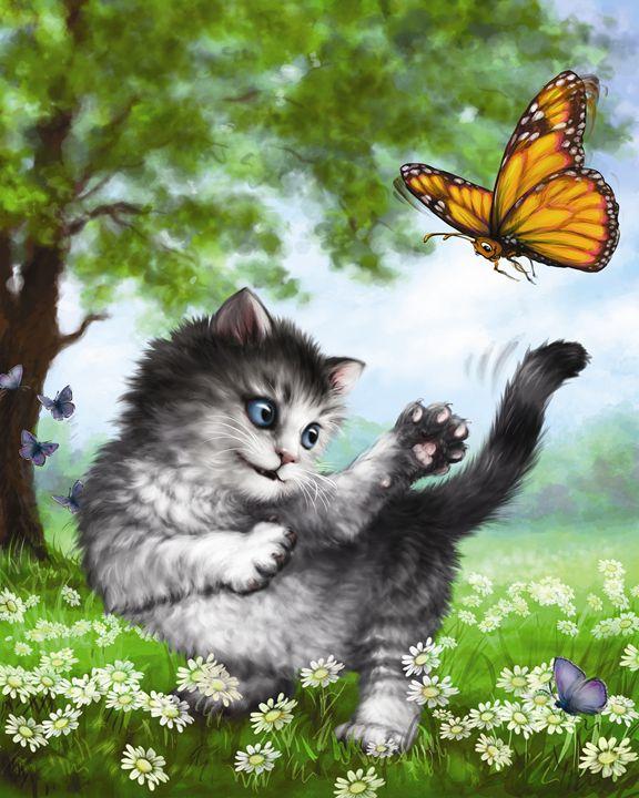 Kitten & Butterfly II - Aviva Gittle Gifts