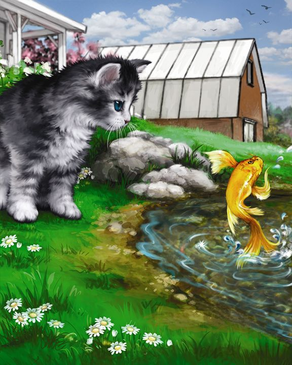 Koi shows Kitten His Scales - Aviva Gittle Gifts