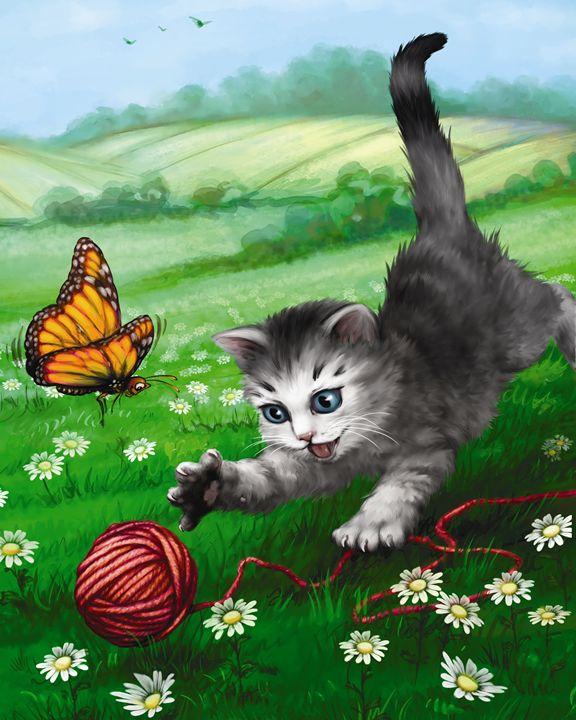 Kitten & Butterfly Playing - Aviva Gittle Gifts