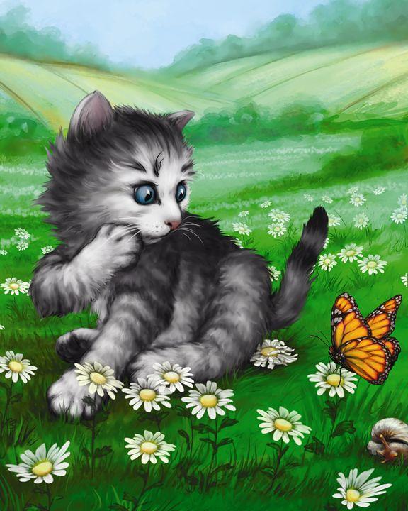 Kitten & Butterfly in the Daisies II - Aviva Gittle Gifts