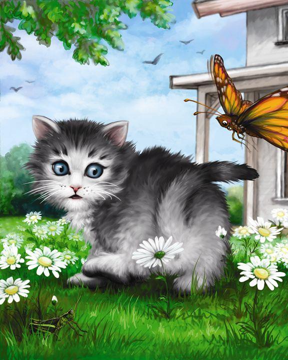 Kitten & Butterfly VI - Aviva Gittle Gifts