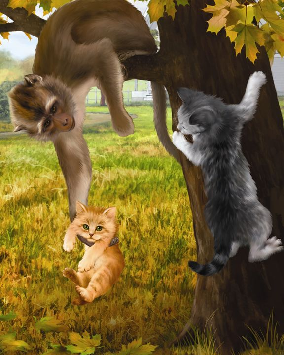 Kittens and Monkey Playing in a Tree - Aviva Gittle Gifts