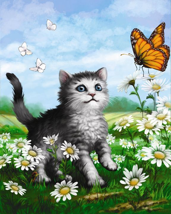 Kitten & Butterfly in the Daisies I - Aviva Gittle Gifts