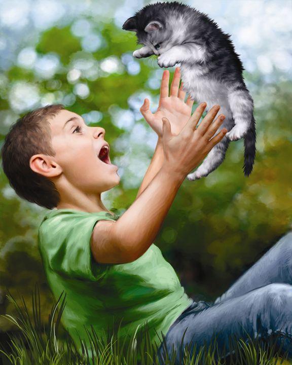 Boy Playing With Kitten III - Aviva Gittle Gifts