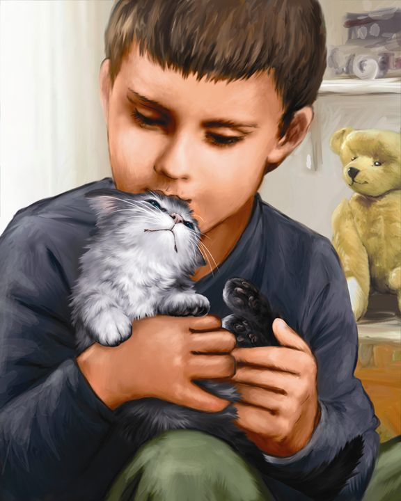 Boy Cuddles With Kitten - Aviva Gittle Gifts