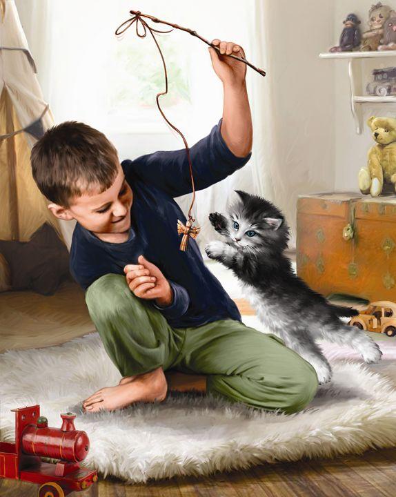 Boy Playing With Kitten II - Aviva Gittle Gifts