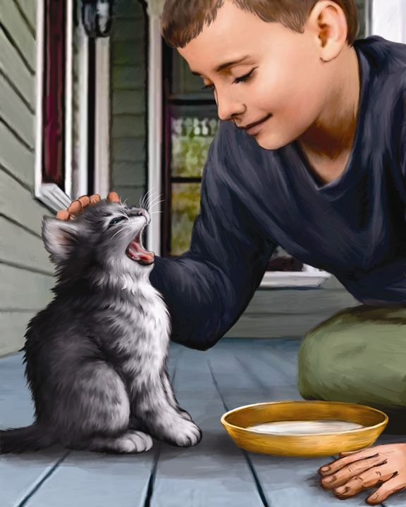 Boy Gives Kitten Some Warm Milk - Aviva Gittle Gifts