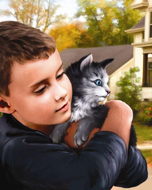 Boy Holding Kitten - Aviva Gittle Gifts