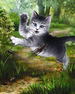 Kitten Plays With Grasshopper