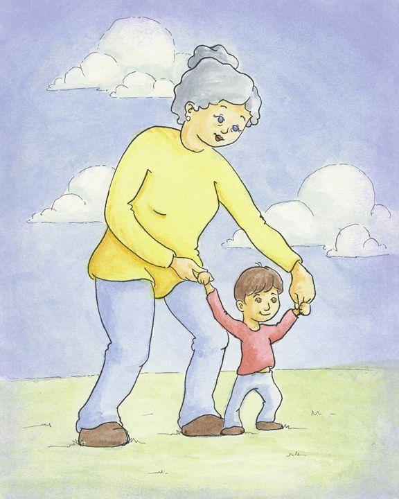 Nana Walks With Grandson - Aviva Gittle Gifts
