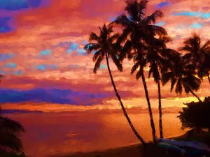 hot tropical sunset