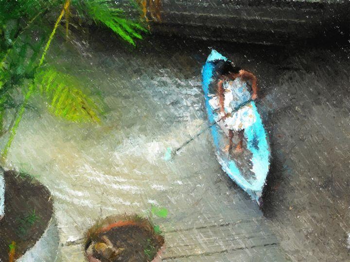Girl in a blue canoe - Lisa Welcher Art