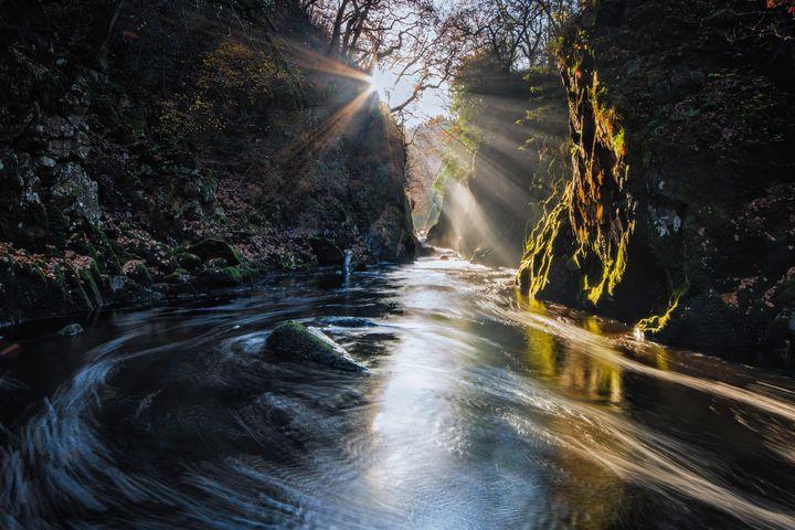 Sun Rays Bursting in Fairy Glen - Palombella Hart Photography