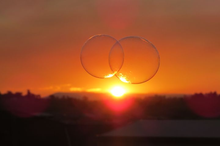 two bubbles in the sunset - FlynnArt