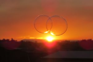 two bubbles in the sunset