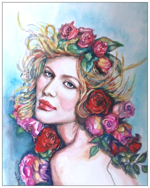 Beautiful Girl with Flower - ArtbyJennyYao