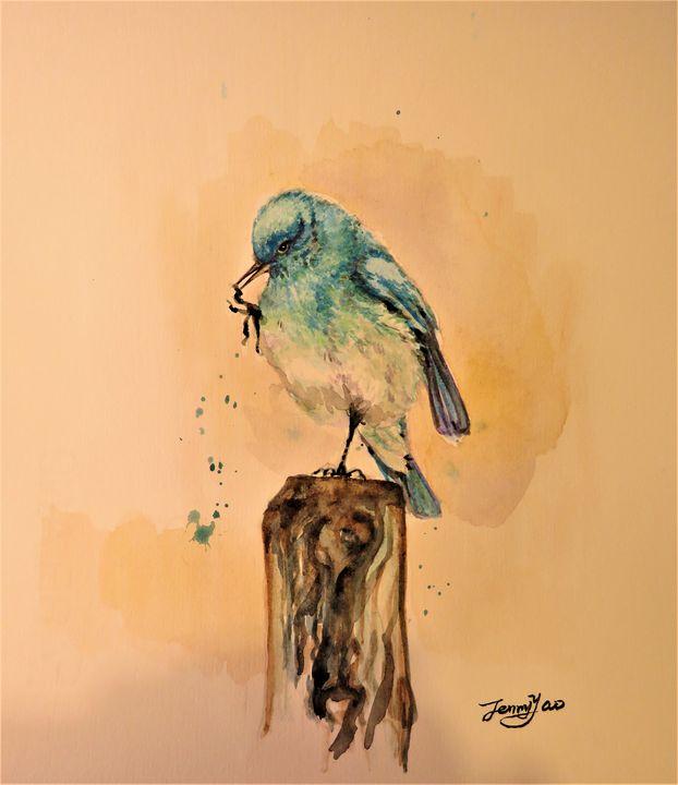 "Blue Bird -10""x8"" watercolor - ArtbyJennyYao"