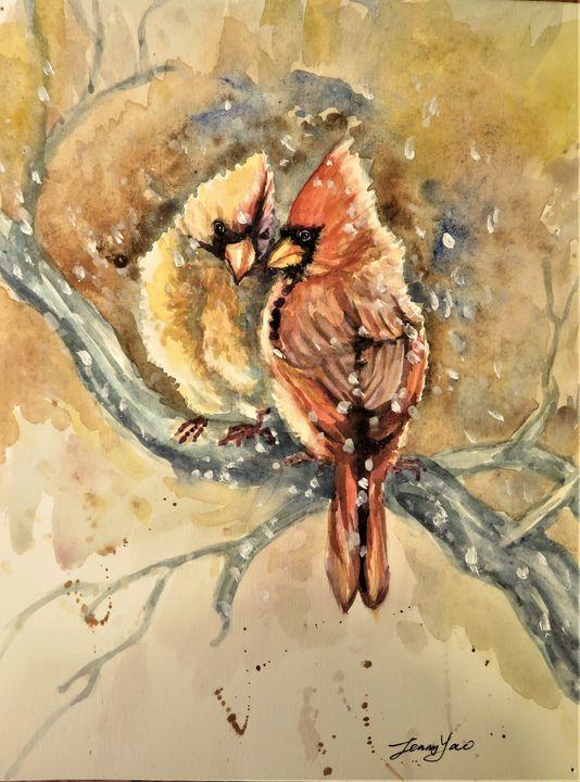Cardinal Birds couple - ArtbyJennyYao