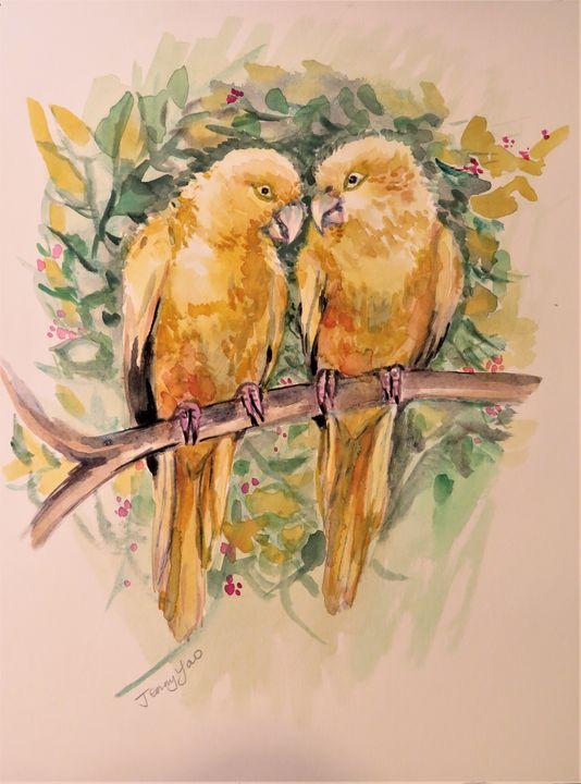 Yellow Parrots - ArtbyJennyYao