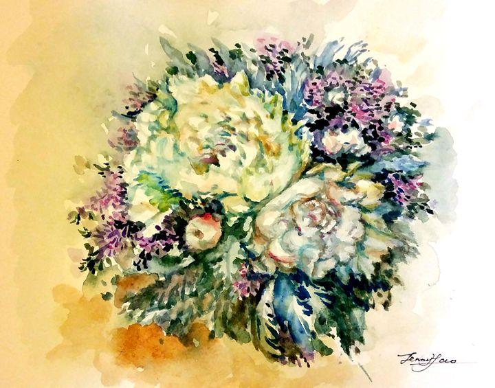 White Peoney Flower Bundle - ArtbyJennyYao