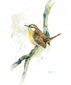 Watercolor Painting Bird on branch