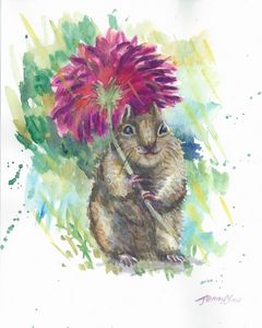 Watercolor Painting Cute Squirrel