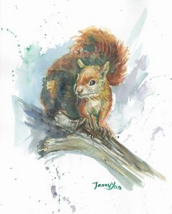 Watercolor painting Squirrel