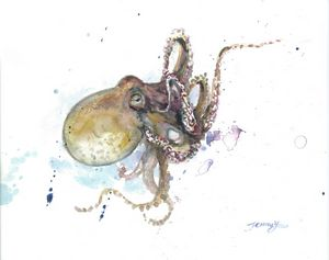 Watercolor Painting Octopus