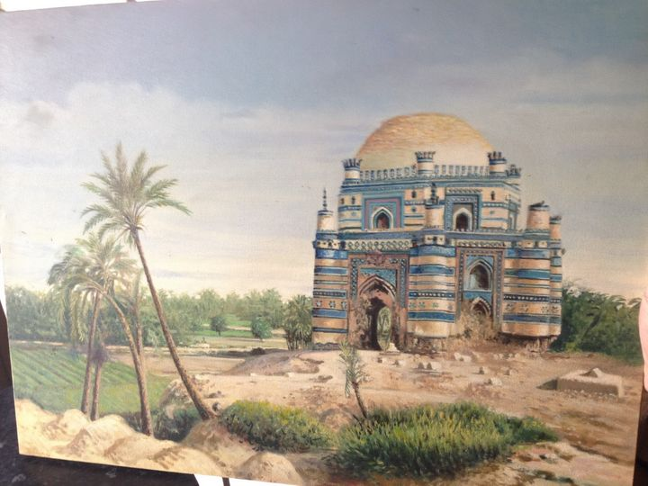 Oil Painting of Tomb of Bibi Jawindi - OilOnCanvas