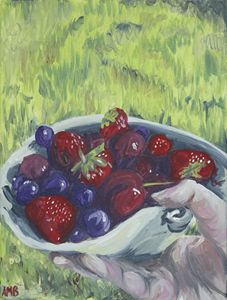 berries in hand still life