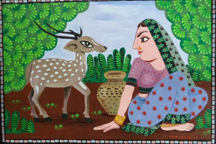lady with deer - paintings4u