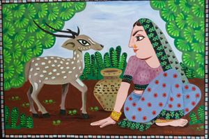 lady with deer