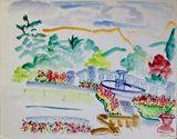 Terrace Pool Watercolor