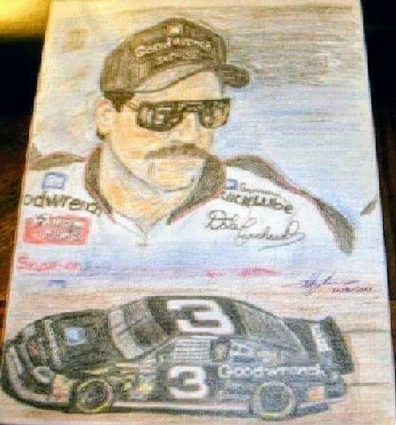Pencil drawing of Dale Earnhardt Sr - Melody Ballek