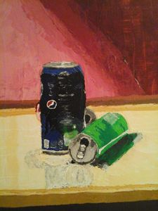 Abstract painting of soda cans