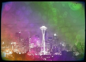 Downtown Seattle Rainbow Bokeh