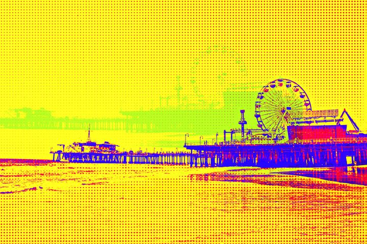 Yellow Pop Art Santa Monica Pier - Christine aka stine1