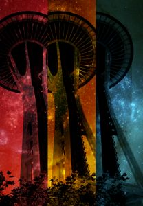 Colorful striped Space Tower