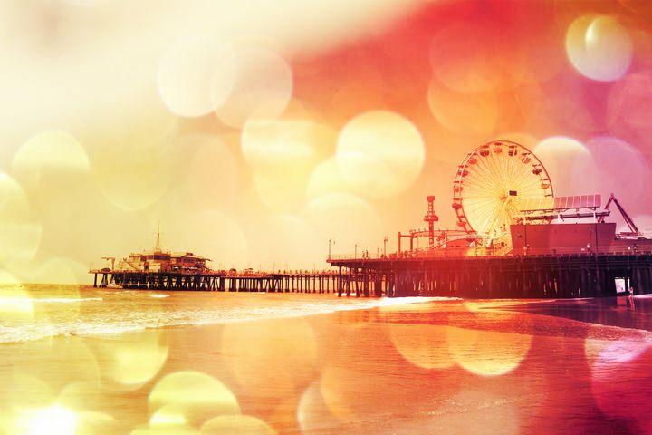Yellow Pink Bokeh Santa Monica Pier - Christine aka stine1