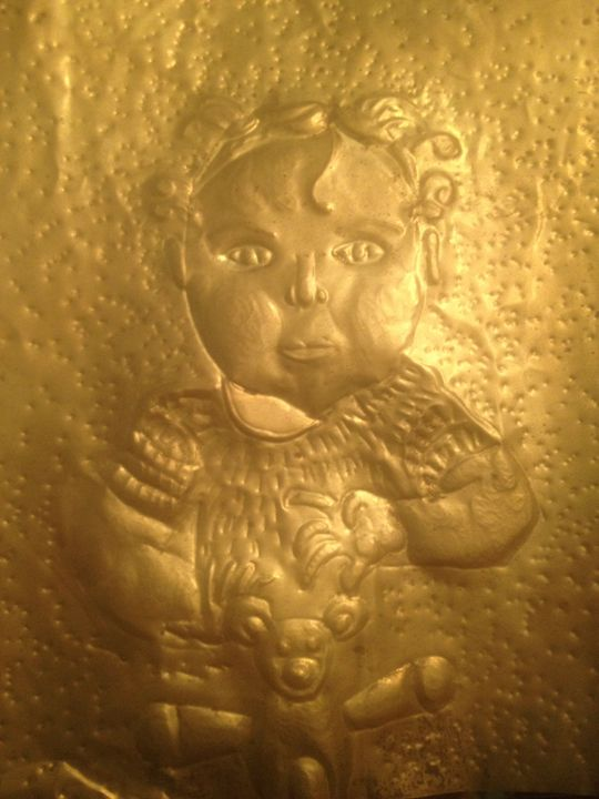 Brass Repousse of baby - Loy's Art