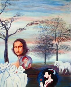 Mona Lisa And Friends, oil on paper