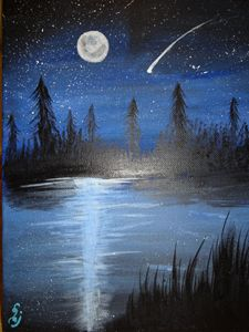 Night sky with lake effect