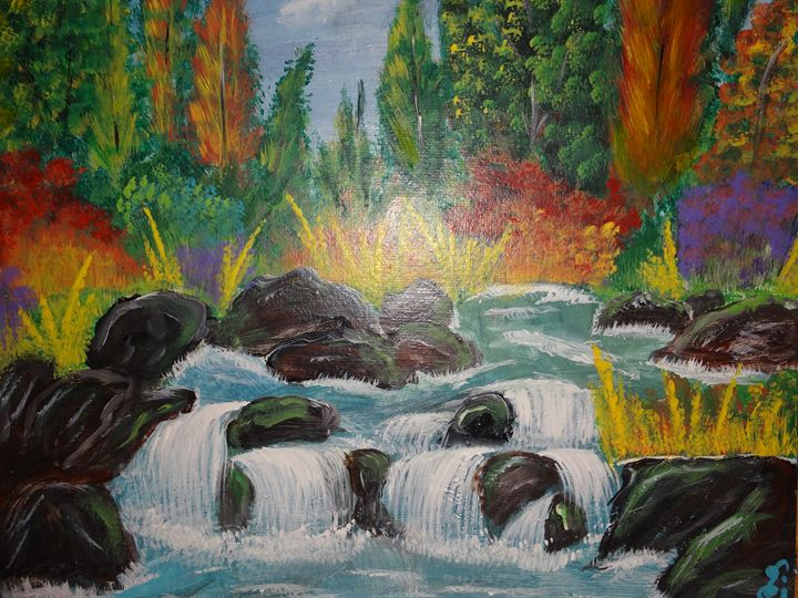 fall colors with waterfall - sri arts