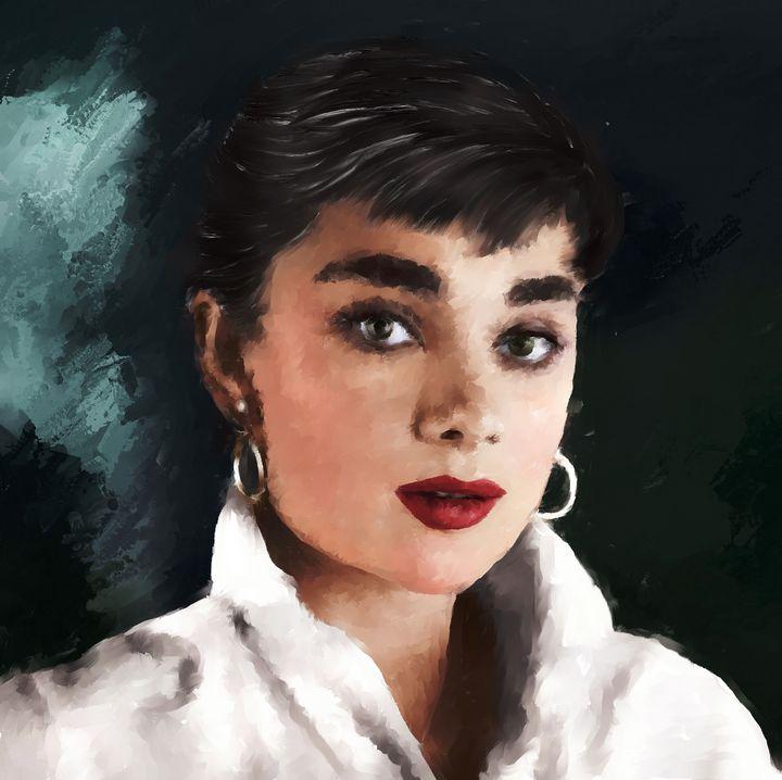 Audrey Hepburn painting - Brian Tones