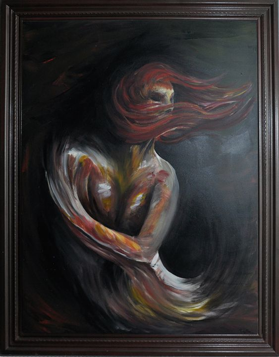 Red Lady Framed - Bachi Art