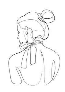 Woman with Bow Line Art